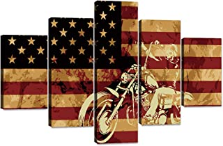 Yatsen Bridge 5 Piece Modern Painting Canvas Motorcycle on American Flag Background Wall Art Posters and Prints Pictures for Living Room, Home Decor Gallery-Wrapped Framed Stretched(60''W x 40''H)