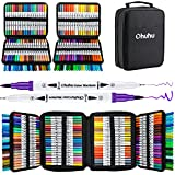 Ohuhu Water Based Markers, Dual Tips, 160 Colors Art Markers Set Coloring Brush Fineliner Color Marker Pens for Calligraphy Drawing Sketching Coloring Bullet Journal Christmas Gift Art Supplies, White