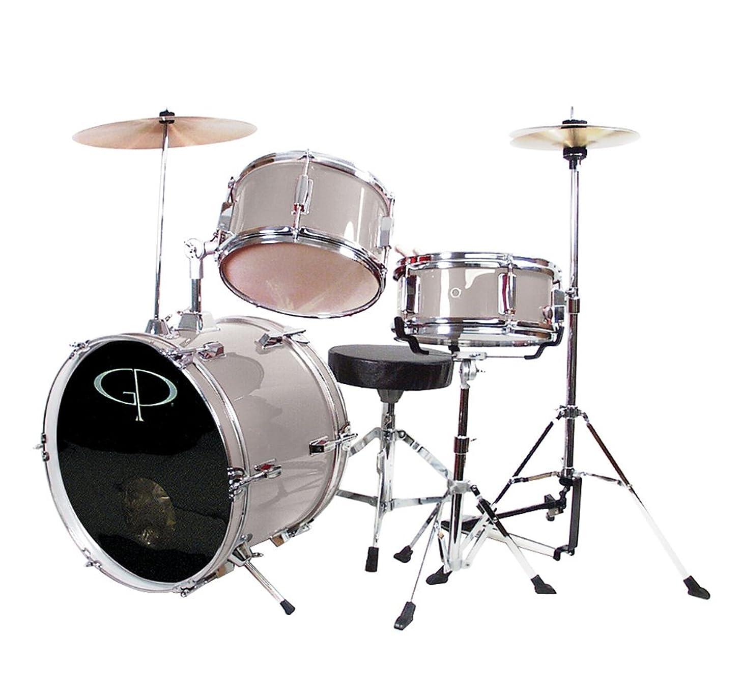 GP Percussion GP50SV Complete Junior Drum Set (Silver, 3-Piece Set)