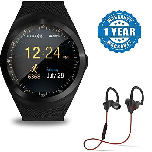 captcha Y1 Bluetooth Smartwatch and Qc-10 Jogger Sports Bluetooth Mic  Headset for All iPhone 94487641373f