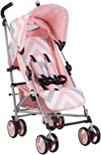My Babiie US02 Pink Chevron Baby Stroller – Lightweight Baby Stroller with Carry Handle – Silver Frame and Pink Chevron – Lightweight Travel Stroller – Suitable from Birth – 33 lbs