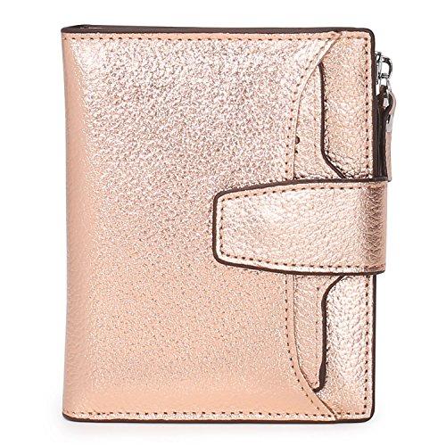 AINIMOER Women's RFID Blocking Leather Small Compact Bi-fold Zipper Pocket Wallet Card Case Purse(Lichee Champaign Gold)