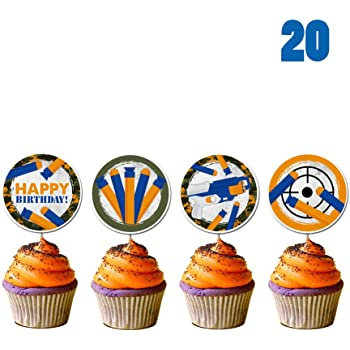 GmakCeder Birthday Nerf Cupcake Topper 24 Pcs