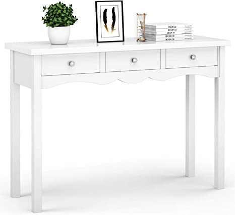 Giantex Console Table for Entryway W/Storage 13-Drawers Hall Table Desk for  Living Room Bedroom Multifunctional Usage Accent Side Sofa Table (White)