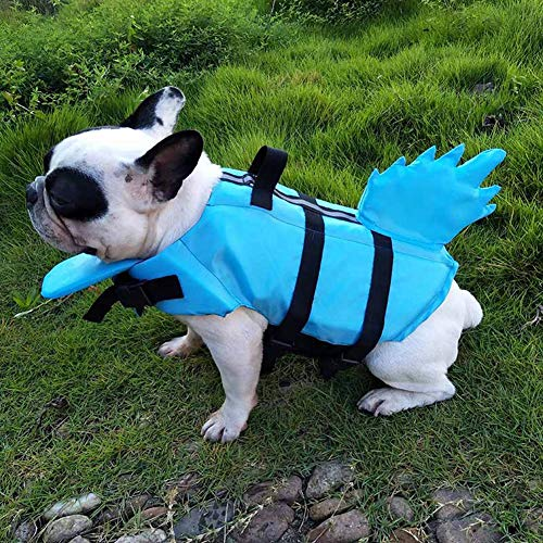 AllsuperDirect Dog Life Jacket,Adjustable Pet Safety Harness Vest Inflatable Dog Life Preserver Dragon Tail Dog Life Safety Clothing Life Vest Summer Swimming Clothes,for French Bulldog Swim Boating
