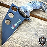 7.5' MARIJUAN Leaf CAMO Tactical KARAMBIT Spring Assisted Open Pocket Knife