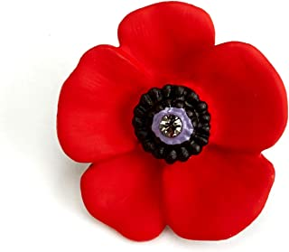 Pins Coquelicot et feuille verte Remembrance day
