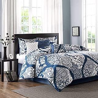 Madison Park Vienna Cal King Size Bed Comforter Set Bed in A Bag - Indigo Blue, Damask – 7 Pieces Bedding Sets – Cotton Bedroom Comforters