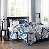 Madison Park Vienna Queen Size Bed Comforter Set Bed in A Bag - Indigo Blue, Damask – 7 Pieces Bedding Sets – Cotton Bedroom Comforters