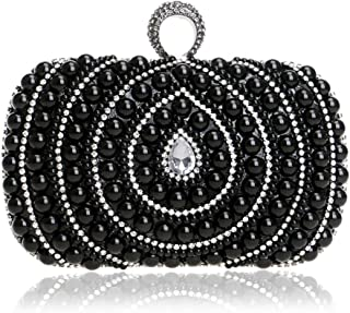 Runhuayou Women's Pearl Beaded Clutch Bags Crystal Rhinestone Nuptial Even Bag Lady Shoulder Messenger Banquet Bags Great for Casual or Many Other Occasions Such (Color : Black)