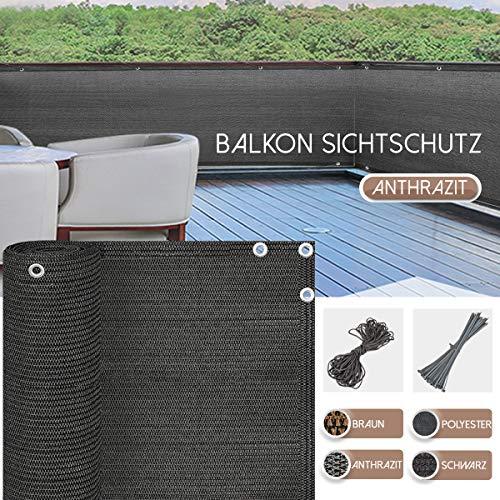 BelleMax Balkon Sichtschutz Balkonverkleidung Kunststoff mit Ösen und Kordel 85% UV-beständig seitlich Blätter HDPE Anthrazit 90cm x 600cm für Balkon