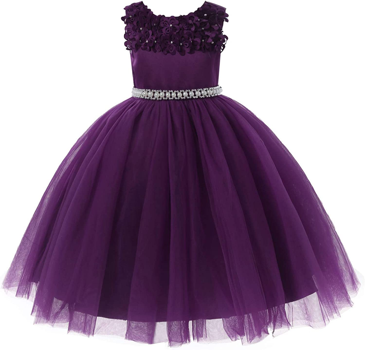 CHICTRY Kids Girls Elegant 3D Flower Embroidery Tutu Gown Wedding Birthday Party Dresses