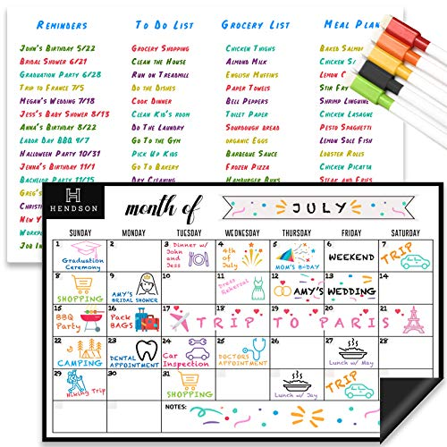 """Magnetic Dry Erase Whiteboard Sheet and Monthly Calendar White Board for Kitchen Fridge – Set of Two 11"""" x 17"""" Multipurpose Refrigerator Organizer with Stain Resistant Technology, Reusable Magnet"""