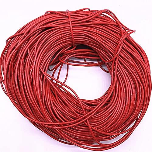 DANMO 5 Yardas 2.0Mm Cuero de Vaca cordón Redondo Pulsera Resultados Cuerda Cuerda para Hacer
