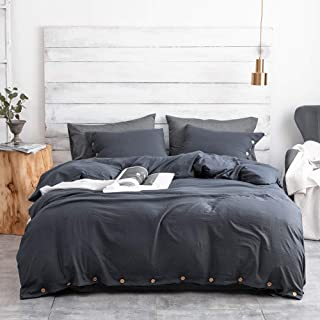 Argstar 3 Pcs 100% Microfiber Duvet Cover Set King with Buttons, Washed Cotton Effect, Navy Blue
