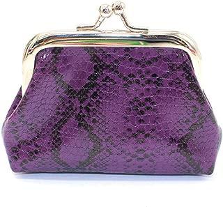 COAFIT Womens Coin Purse Fashion Serpentine Print Clasp Closure Coin Pouch Coin Wallet (Purple)