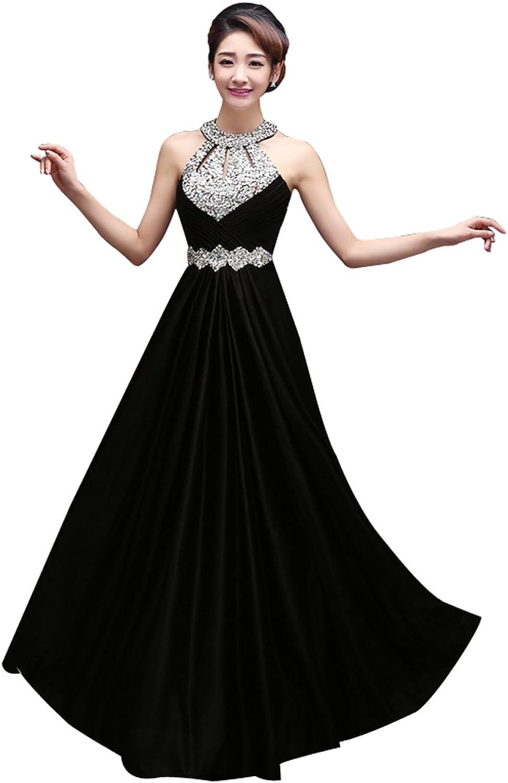 Epinkbridal Halter Corset Back Long Formal Evening Dress with Beadings