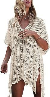 Women's Crochet Swimsuit Cover Up Bikini Mesh Beachwear Cover Up Beach Dress Chiffon Bathing Suit Blouse for Summer