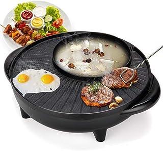 2 en 1 Barbacoa Caliente Pot Coreana Parrilla eléctrica con Barbacoa Pan y Hotpot, Energía Eléctrica sartén Antiadherente sartén sin Humo Parrilla en el Interior