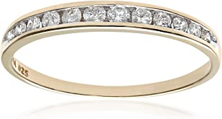 Naava 女式 9 克拉白金 0.25 克拉钻石槽镶半永恒戒指