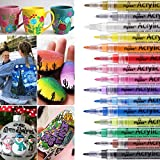 Acrylic Paint Pens,15 Colors Permanent Paint Art Markers Waterbased Pen Set for Photo Album ,Canvas, DIY Craft, School Project, Glass, Ceramic, Wood,Easter Egg,Non Toxic, Quick Drying (0.7mm)