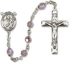 Bonyak Jewelry St. Martin de Porres Rosary in Sterling Silver with June Light Purple Swarovski Crystal Beads