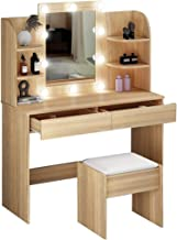 Dressing Table Makeup Vanity Table Stool Set Mirror with LED Lighted 2 Drawers Storage Shelves Classic Oak