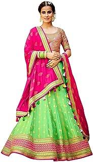 INMONARCH Light Green Silk Jacquard Lehenga Choli LRD504