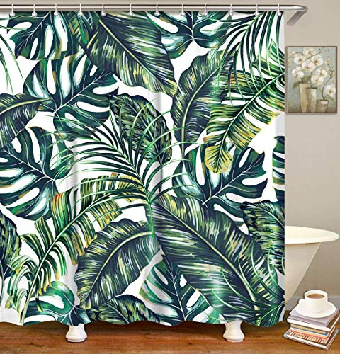 LIVILAN Tropical Leaf Shower Curtain, Green Plant Fabric Bathroom Curtain Set with Hooks Decorative Privacy Bath Curtains 72X78 Inches Polyester Machine Washable