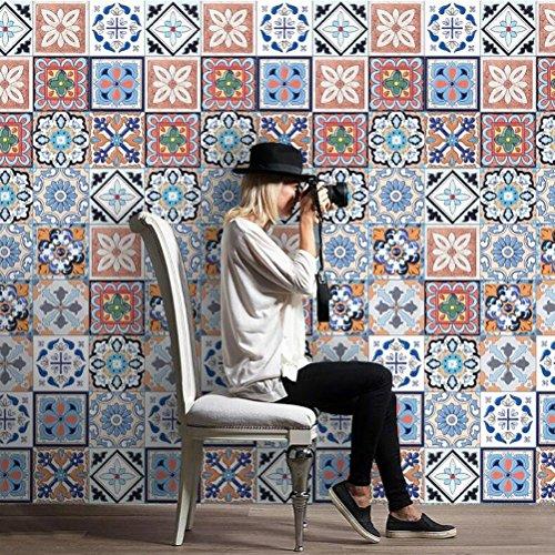 MINRAN DECOR BJ Art de tuiles Mural - Adhésif carrelage   Sticker Autocollant Carrelage - Mosaïque carrelage Mural Salle de Bain et Cuisine   - 20cm*5m 003