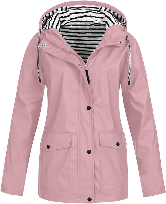 YUNDAN Women Plus Size Raincoat Waterproof Trench Coat Strip Climbing Workout Outdoor Hooded Lightweight Packable Windbreaker