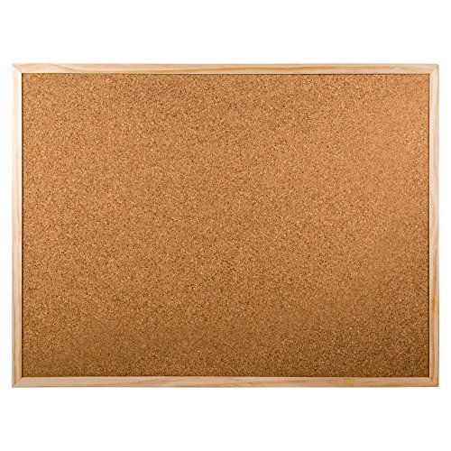 Office Works Small Wooden Cork Bulletin Board, 12 x 18 inches, Beige