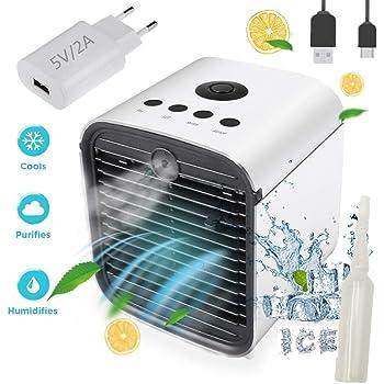 Nifogo Air Mini Cooler Aire Acondicionado Portátil - 3 en 1 Climatizador Evaporativo Frio Ventilador Humidificador Purificador de Aire, Leakproof, Nuevo Filtros (New + Adaptador): Amazon.es: Hogar