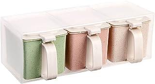YYQQ Boîte d'assaisonnement, boîte de récipient d'assaisonnement, bocaux et Pots de Shaker à épices à Trois Compartiments,...