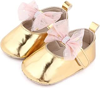 Baby Girls Newborn Breathable Mesh Bowknot Flats Princess Shoes Toddler Soft Soled First Walkers 0-18M (Baby Age : 7-12 Mo...