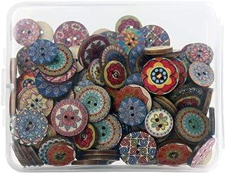 SUNTATOP Boutons en Bois Mercerie Lot de 150, 15mm&20mm pour Bricolage Couture DIY Artisanat Décoration, Impressions Multi...