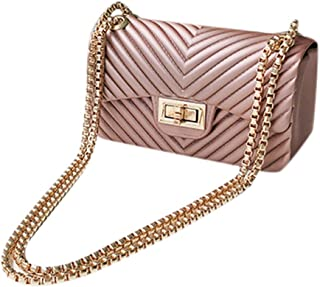 Women Mini Simple Jelly Shoulder Bags Ladies Pure Color PVC Chain Crossbody Bags