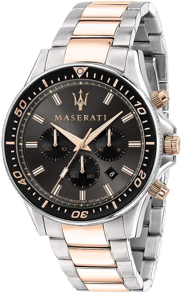 Maserati orologio da uomo, collezione sfida, in acciaio, pvd oro rosa 8033288894759