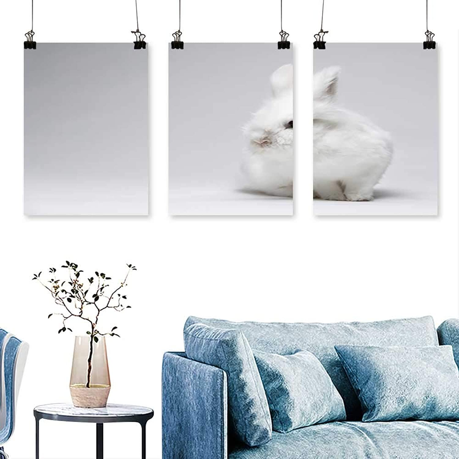 SCOCICI1588 3 Panels Triptych A Small White Rabbit on a White Screen for Home Modern Decoration No Frame 30 INCH X 60 INCH X 3PCS