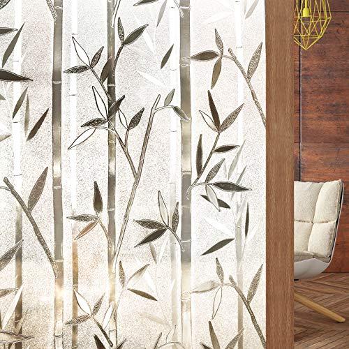 rabbitgoo 3D Statisch Haftende Fensterfolie Bambus Dekofolie Sichtschutzfolie Fensterschutzfolie Selbsthaftend Anti-UV 88 x 200cm