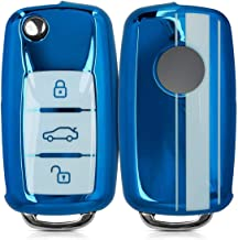 JVCV® Car Key Cover Compatible with Volkswagen Folding Key - Rally Stripe (Blue White)