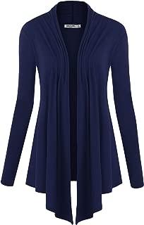 Women's Basic Draped Long Sleeve Open Front Knit Cardigan S - XXXL Plus Size - Made in U.S.A.
