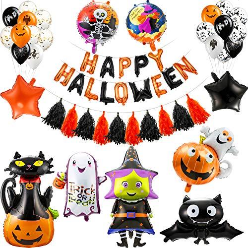 54 Pieces Halloween Balloons Party Decorations, Happy Halloween Letter Balloon Banner, Pumpkin Bat Ghost Mylar Balloons Confetti Balloons, Paper Tassel Garlands Black Orange Latex Mylar Foil Balloon