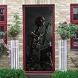 WXhGY 3D Türaufkleber Skelett Skelett Rauchen Türtapete