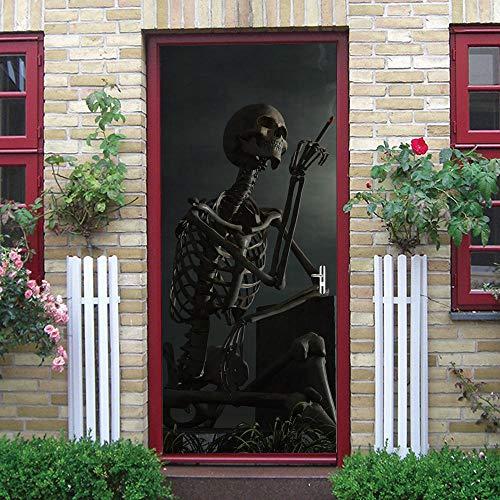 WXhGY 3D Türaufkleber Skelett Skelett Rauchen Türtapete Selbstklebend Türposter Fototapete Türfolie Poster wasserdichte Abnehmbare Türtapete Innentür Schlafzimmer Küche Bad Home Deko 77x200cm