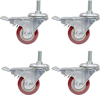 WQF Set van 4 Swivel Castor Wheel,Trolley Furniture Caster, Heavy Duty, Met Remmen, 63MM, Capaciteit 300kg (661 lbs)