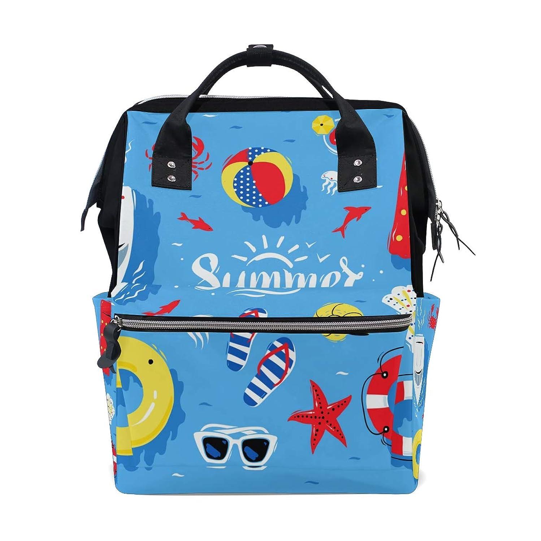 Beach Summer Elements Pattern Blue School Backpack Large Capacity Mummy Bags Laptop Handbag Casual Travel Rucksack Satchel For Women Men Adult Teen Children
