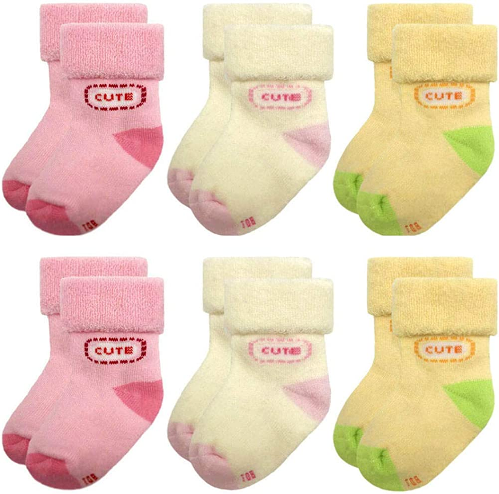 Baby Socks Terry for Infant Toddler Girls Winter 0-12 Months 6 Pairs