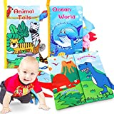 Magicfun Libros Blandos para Bebé, Paquete de 3 Libros de Tela Libro Activity con Animales Dinosaurios Colas de Océano, Juguetes Educativos Regalos para Niñas Niños