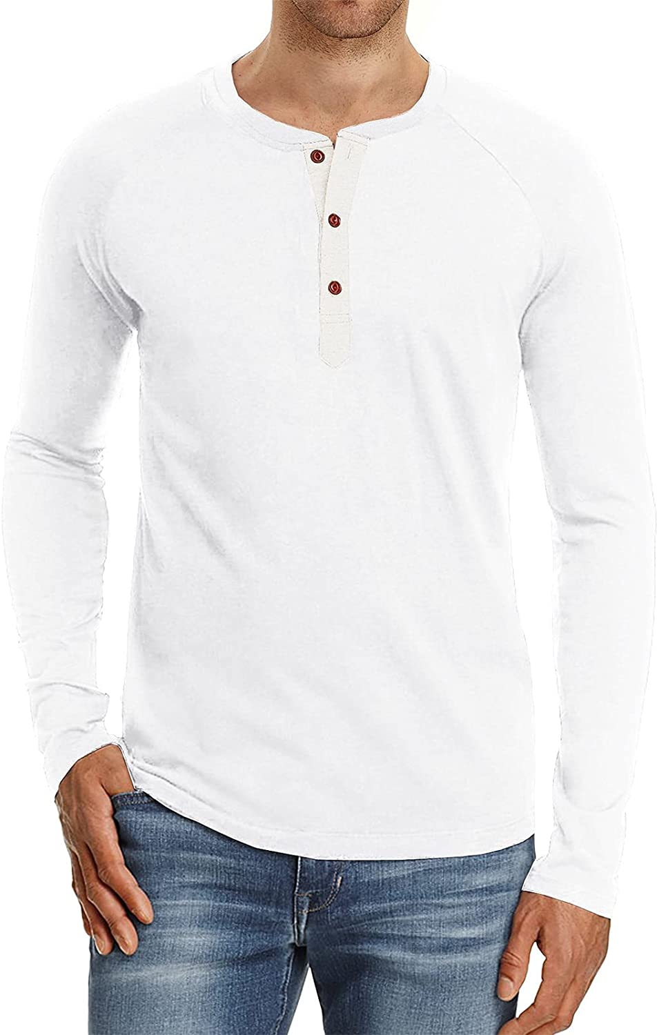 Angbater Mens Fashion Casual Henley T-Shirts Slim Fit Cotton Long Sleeve Shirts Summer Buttons Tees